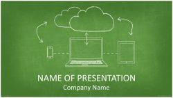 Cloud Computing 黒板に手書きで書いた感じがおしゃれなクラウドをイメージさせるパワーポイントテンプレート