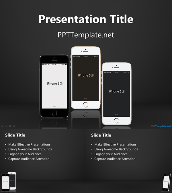 <Free iPhone PPT Template>   iPhoneアプリの企画や勉強会に使えそうなパワポテンプレート