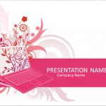 ピンク色のノートパソコンをモチーフにしたかわいいパワポテンプレート Laptop PowerPoint Template