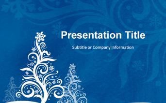 雪のクリスマスツリーをモチーフにしたおしゃれなパワーポイントテンプレート Free Free Christmas Tree PowerPoint Template