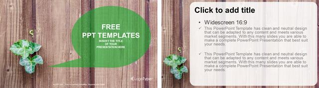 木目の背景に植物をワンポイントにした自然やエコをイメージさせるパワポテンプレート Green Plant-Nature PowerPoint Templates