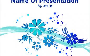 青い花がかわいいパワポテンプレート