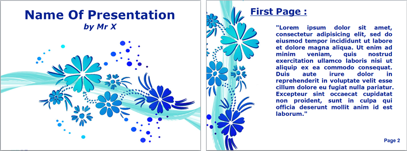 青の花柄テンプレート