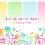 カラフルな花がたくさんあってカワイイパワーポイントテンプレート Colorful Floral PowerPoint Background