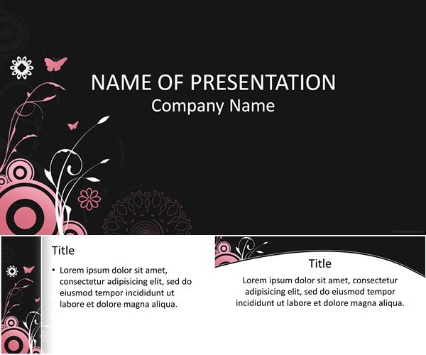 花と蝶のピンクの背景イラストが カワイイ パワポテンプレート