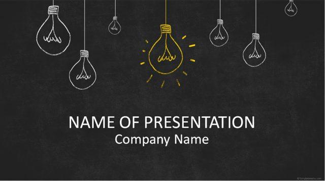 新規企画のプレゼンにぴったり!手書き風イラストのパワーポイントテンプレート Light Bulbs On Blackboard