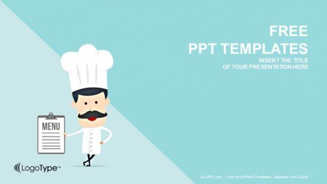 コックさんのイラストがカワイイ!水色背景のパワポテンプレート Cartoon Chef-Food PowerPoint Templates