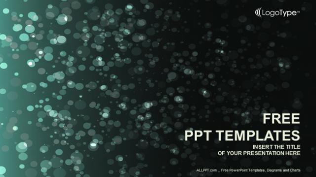 ダークグリーンの背景にキラキラ輝くボケがオシャレなパワポテンプレート Green Shine-Abstract  PowerPoint Template