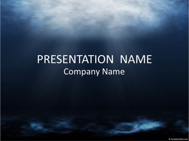 深海をイメージした背景を使ったパワポテンプレート Underwater PowerPoint Templates