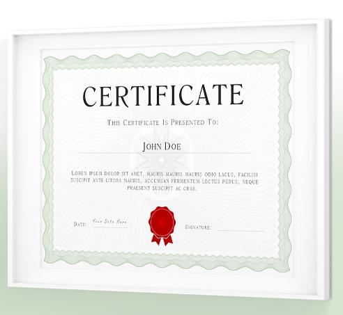 英語の証明書パワーポイントテンプレート Sage Green PowerPoint Certificate / Diploma Template
