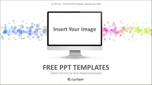 PCモニターに画面をはめ込んで使えるIT系のパワーポイントテンプレート Cable In The Monitor-Computer PPT Templates