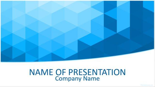 キューブの幾何学模様がかっこいい無料パワポテンプレート Blue 3D Geometric PowerPoint Template
