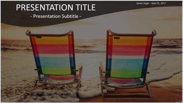 夏をイメージするおしゃれな無料パワポテンプレート Summer Beach PowerPoint