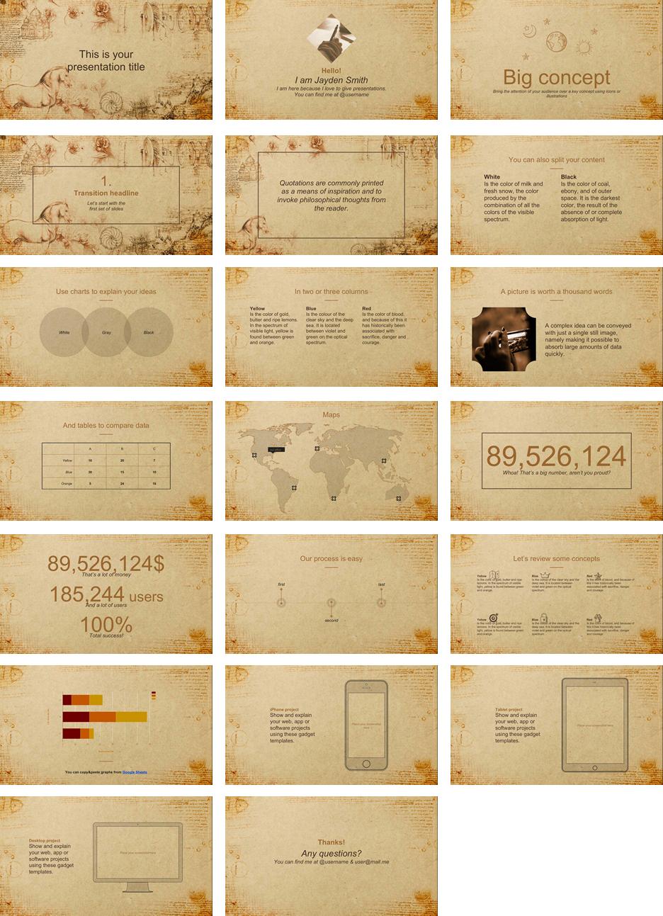 レトロな雰囲気のパワポテンプレート Dolabella presentation template