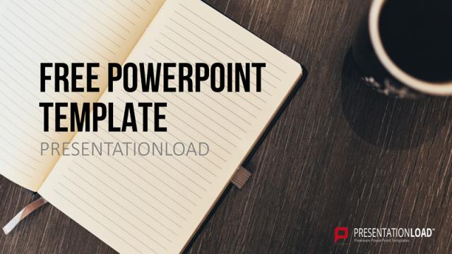 ノートの写真を背景にしたセンスのいいパワポテンプレート Free PowerPoint Template Notes