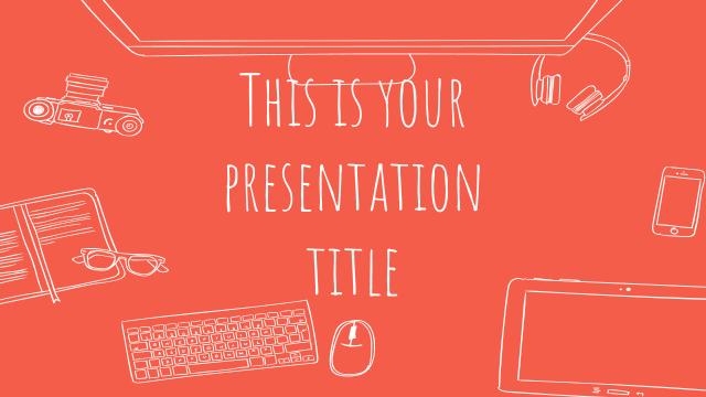 手書きの線画イラストがかわいいパワーポイントテンプレート Nathaniel presentation template
