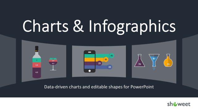 グラフとインフォグラフィックのパーツを集めたパワーポイントテンプレート