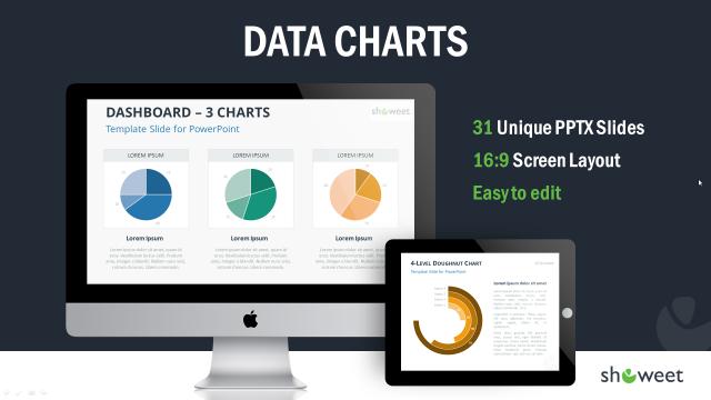 かっこいいグラフを集めたパワポテンプレート Data Charts Templates