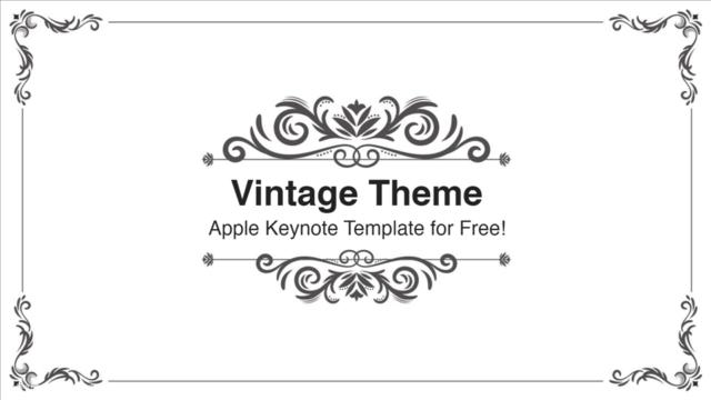 フレームデザインのおしゃれなキーノートテンプレート Vintage Keynote Template