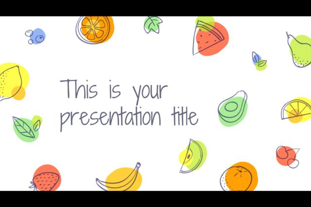 手書き感あるフルーツのイラストのパワポテンプレート Aumerle presentation template