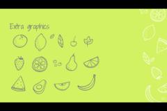 手書き感あるフルーツのイラストのパワポテンプレート aumerle