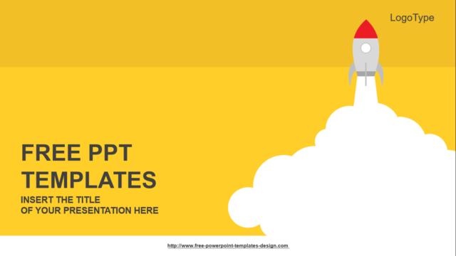 黄色で統一したフラットデザインのビジネス用パワーポイントテンプレート