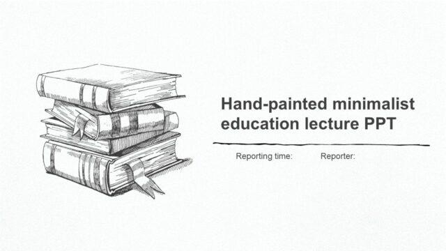 シンプルな手書きの線画イラストのパワポテンプレート